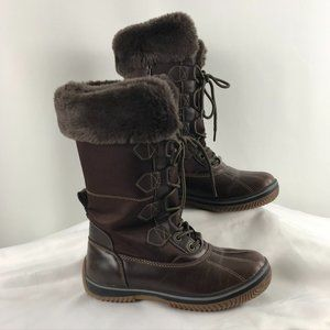 London Fog Faux Fur-Lined Lace Up Boots